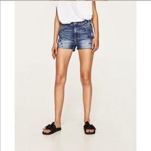 NWT Zara Basic Denim Embroidered Jean Shorts Sz 8
